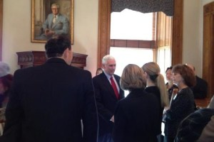 Video of presentation of letter to Governor Pence at Indiana Statehouse