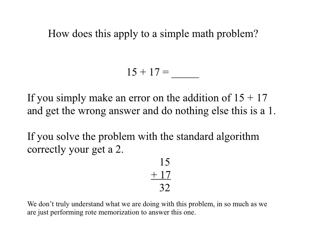 Common Core performance level descriptors in a simple math problem ...